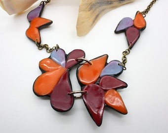Handmade Polymer Clay Chunky Statement Necklace In Burgundy, Orange, and lavender