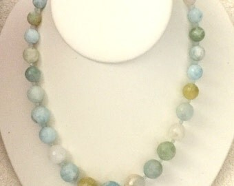 Graduated Aquamarine 18 1/2 Inch Necklace
