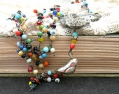 bird assemblage necklace shabby chic seed bead shoe clip
