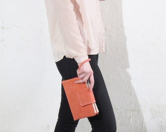 Women iPhone 7 plus Wallet, coral pink leather wristlet, ladies wallet, iphone 7 clutch, travel wallet, peach echo leather bag