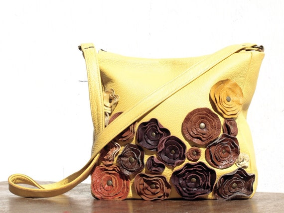 yellow Leather Bag Leather Messenger Purse Rustic Harvest Leather Floral Applique Summer Fashion