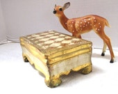 Vintage Trinket Box, Florentine Gold and Ecru, Made in Italy, Vanity Dresser Organizer, Shabby Chic, Hinged Lid, Rectangle, Royalty, Bridal