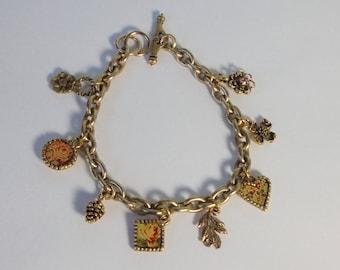 Vintage MAXIMAL ART Flowers, Heart Charm Bracelet. John Wind