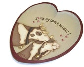 Hand Painted Heart Plate | Kissing Cows | Udder Delight Cow Design