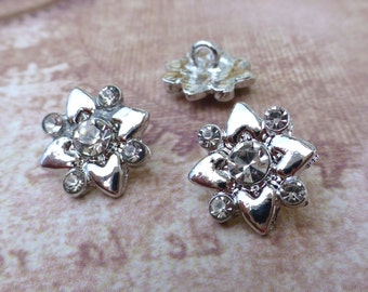 free UK postage - Pack of 4 Square Buttons with Rhinestones