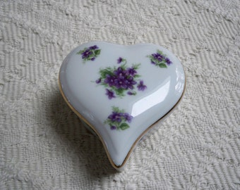Vintage Home Decor Lefton China Covered Trinket Box Forget Me Not Flowers