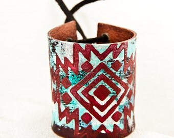 Tribal Jewelry Leather Cuffs Handmade - Turquoise & Red - Gypsy Wristbands Bracelets For Women