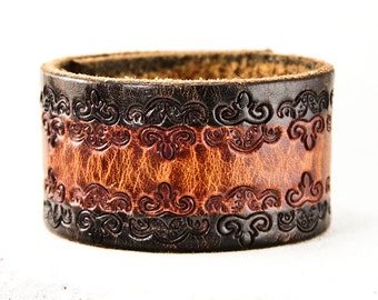 Spring Time Leather Cuff Jewelry Bracelet - Lovely Vintage Leather Cuffs - Mother's Day Bracelets Wristband Wrist Cuffs