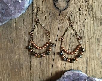 Wire wrapped crystal chandelier Earrings/ Boho Jewelry/ Gift Under 25/ Bohemian Accessory/ Festival Wear/ Glass Beaded Jewelry/ Glass Pearls