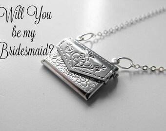 Bridesmaid Jewelry/ Envelope Locket Pendant/ Wedding Jewelry/ Custom/ Will You Be My Bridesmaid/ Bridesmaid Necklace
