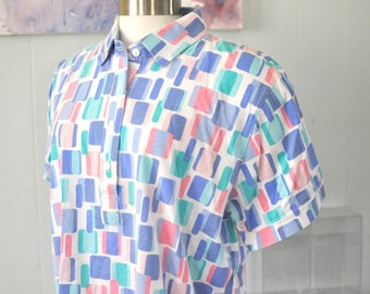 Vintage Ladies Polo Shirt Tennis by Leon Levin White Soft Thin Pink Purple Turquoise Aqua Teal Red Retro Rounded Geometric