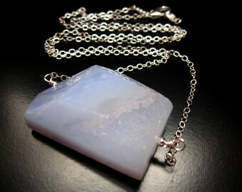 Blue Chalcedony Necklace, Blue Chalcedony Druzy Pendant, Sterling Silver Chain, Chalcedony Necklace, Chalcedony Pendant, Chalcedony Jewelry