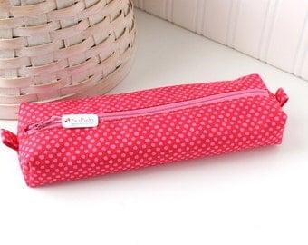 Pink Pencil Case Boxy Pouch Pink Polka Dot Print Pink Pencil Pouch