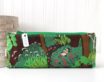 Green Woodland Pencil Case Whimsical Forest Pencil Case Cute Zipper Pouch