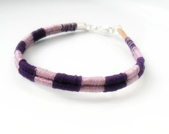 Cotton Woven Bracelet in purple hues Simple Bohemian Bracelet Organic minimal bracelet Friendship Bracelet Boho gift for Her Cotton or Silk