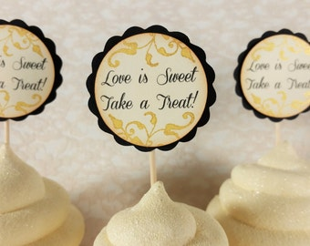 Love is Sweet Take a Treat Wedding Cupcake Toppers, Black Ivory and Gold, Anniversary, Bridal Shower, Plant Picks