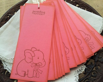Elephant Parenting Advice Wish Tree Tags Pink Baby Shower Wishing Tree Cards Set of 25