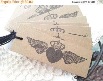 SALE French Inspired Winged Heart with Crown Kraft Tags Set of 15