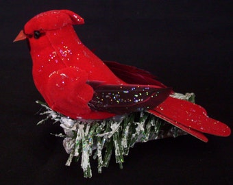 red cardinal ornament, tree ornament bird clip on