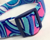 Lilly Pulitzer Fabric Dog Collar Boy Girl Purple Blue Pink Sea Jewels