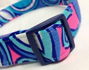 Lilly Pulitzer Fabric Dog Collar Purple Blue Pink Sea Jewels- LIMITED