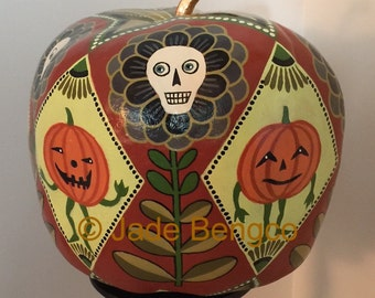 HALLOWEEN HANDPAINTED GOURD with Floral Skulls and Jack-0-Lantern Goblins!! One-Of-A-Kind!!