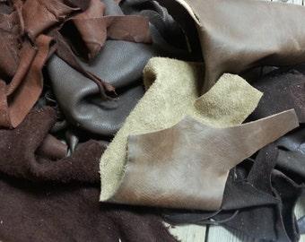 Dark Brown Salvaged Leather Scraps - Buckskin Leather Pieces - One Pound Bag - Lot No. 160625-T