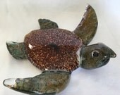 Glass Sea Turtle hand made ocean glass marine life diver oceanographer turtle shell brown green