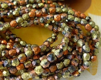 4mm Fire Polished, Etched Beads, Czech Glass Beads- California Gold (50)