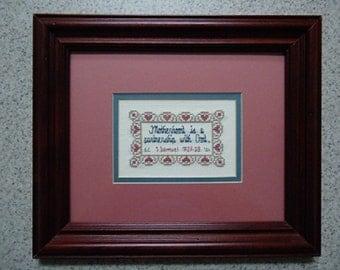 Motherhood Is - Inspirational Cross Stitch Picture - Wall Decor