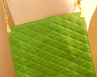 Green Evening Bag Purse Leather Quilted 1970s Morris Moskovitz SALE