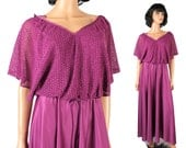 Disco Goddess Dress Sz M Vintage 70s Long Purple Lace Top Flared Skirt Costume Free US Shipping