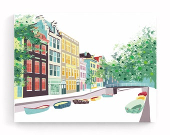 Amsterdam Canal Print Bloemgracht, Skyline Framed Canvas Wall Art Print, Canal Boats, Ready to hang, Home decor, Travel Art Gift, MCAB1