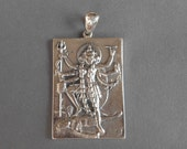 Sterling Silver Kali amulet Pendant / silver 925 / Hindu Goddess - Lord of death / 1.50 inch / (#999K)