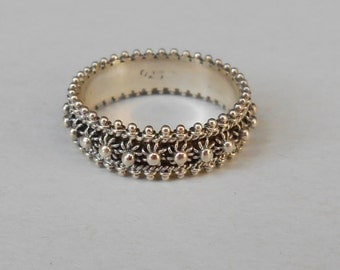 Balinese Sterling Silver granulation technique band ring / silver 925 / Bali handmade jewelry / (#721m)