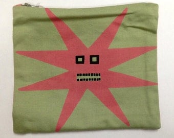 Star Face Screen Printed Cotton Purse Pouch