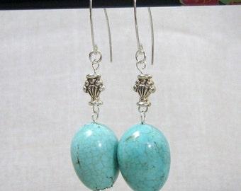 SALE 30% Turquoise Earrings, Sterling Silver, Southwest Jewelry, E333