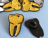 Glitter Gold Tooth Enamel Pin  Halloween Pins Spooky Brooch Lapel Pin Flair Tie Pin halloween jewellery Goth Pin Horror Theme