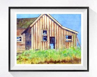 Old Barn Watercolor art Print Rustic Farm art Old farmhouse painting watercolor painting of barns Landscape painting country artwork