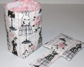 Thread Catcher Bag, Pin Cushion, Catch-all Scrap Caddy, Pink Flowers Grey Dress Forms