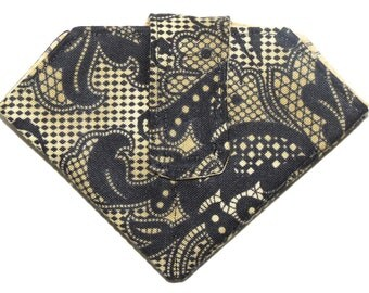 Folded Needle Case, Black Chantilly Lace, Safety Pins