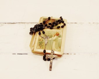 Vintage Rosary Black Beads Oval Beaded Religious Prayer Beads
