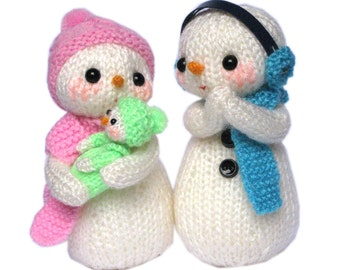 The Snowmen Family, Dad, Mom and Baby PDF Email Knit PATTERN