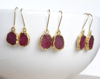 Ruby Earrings, July Birthstone, Gold Filled, Ruby Slice Earrings Gold Electroplate, Rough Ruby, Dainty Earrings, Organic Natural Gemstone
