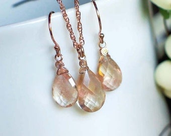 Oregon Sunstone Necklace Earrings Set | Champagne with Peach Pink Schiller Pear Briolettes | 14k Rose Gold Filled | Birthday | WeddingGift
