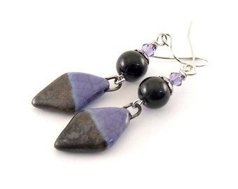 Purple and Black Ceramic Earrings - Ceramic Earrings - Wire Earrings - Boho Earrings - Artisan Earrings - Purple Earrings - Silver - AE124