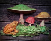 Awesome Large 3D Vintage Frog and Toadstool Molded Plastic Wall Hanging