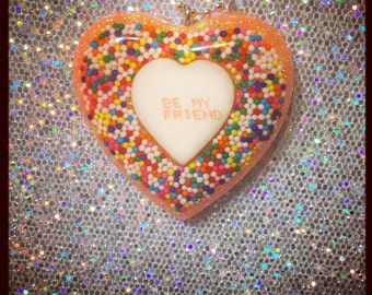 Be My Friend Sprinkle Conversation Heart Necklace