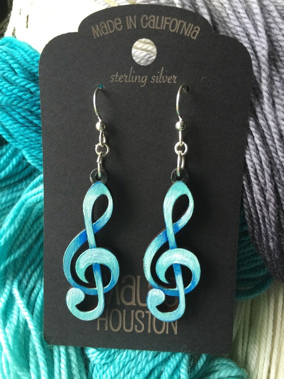 Hand Painted Treble Clef Earrings. Custom colors available.