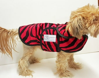 Red Zebra Minky Dog Coat  20 dollars to 50 dollars depending on the size by Doodlebug Duds